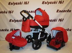 #Коляска детская 3 в 1 Jedo Nevo 100 % красная кожа